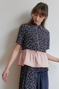 [-35%]Frill blouse[Navy/Pink]
