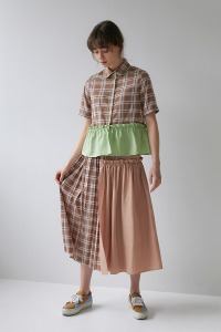 Half and half skirt[Beige]