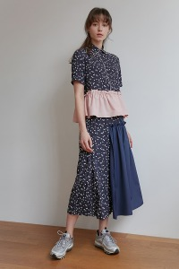 Half and half skirt[Navy]