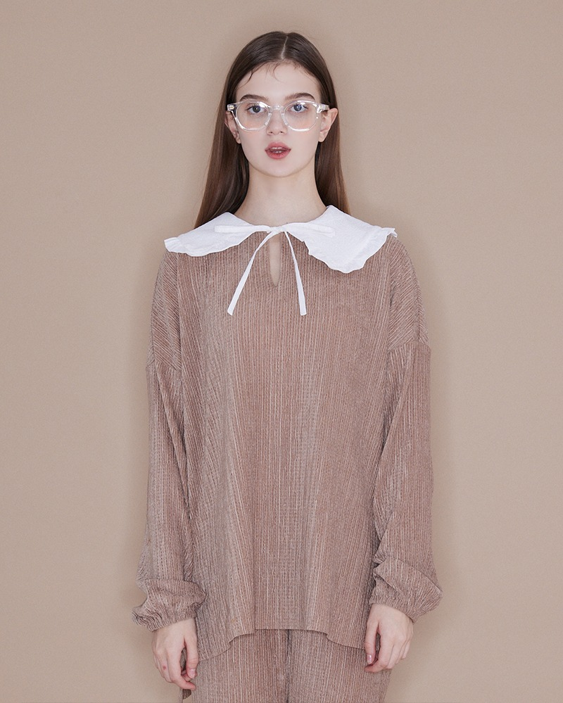 Frill Collar Blouse[Beige]